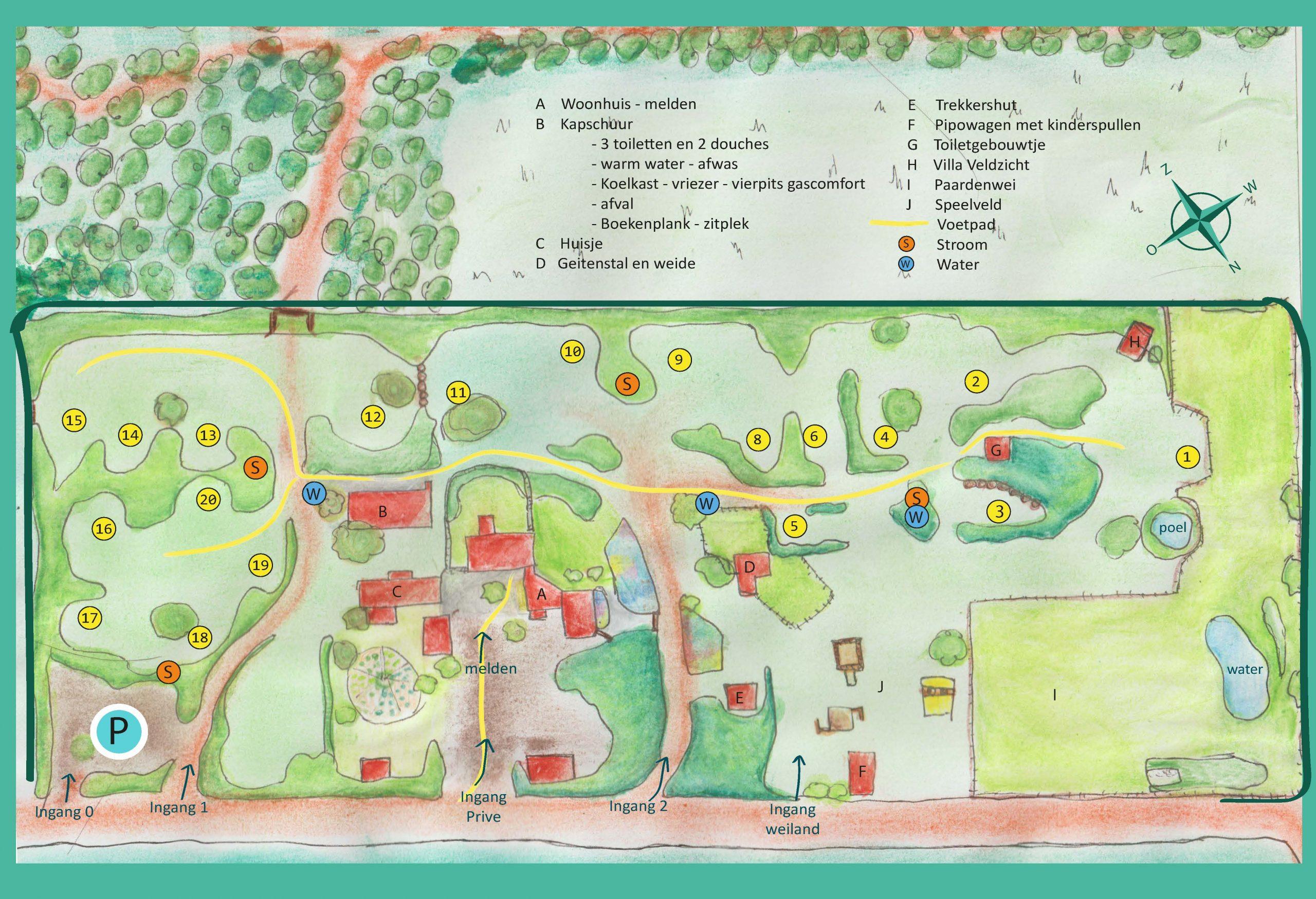 De plattegrond van het terrein